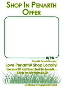 Shop in Penarth special offer poster - look out for this in participating retailers